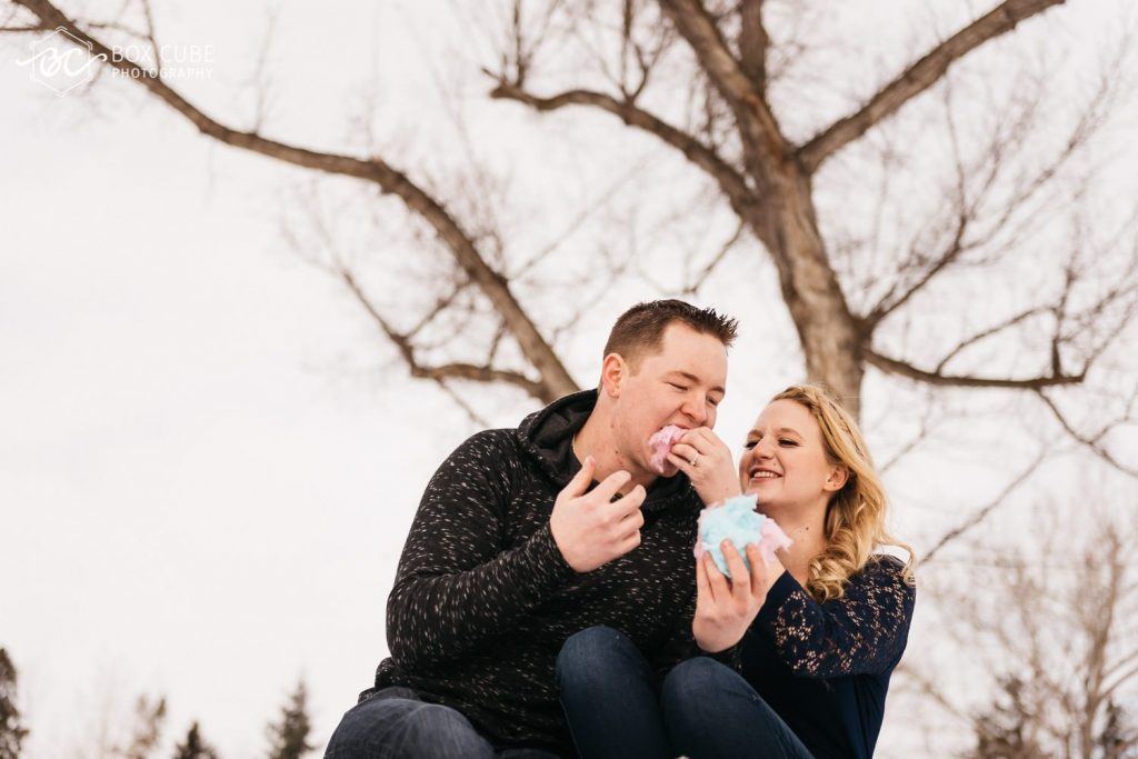 edmonton engagement photography william hawrelak park cotton candy photo