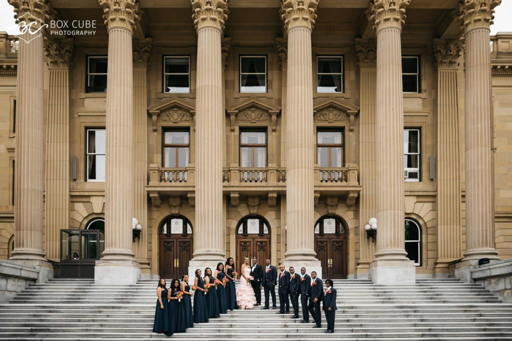 wedding photos at alberta legislature building, edmonton